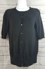 Ann Taylor Button Down Sweater Womens Size Small Cute Black Cardigan Used Condit