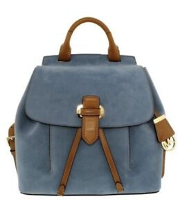Michael Kors Romy Suede Leather Large Backpack Blue / Tan - Retired New W/O Tags