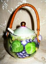 """Victorian Limoges 1800's / early 1900's Signed """"Holmes"""" Mustard Pot with Spoon"""