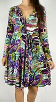ORIENTIQUE Multi Watercolor Stretch Long Sleeve Faux Wrap Dress Plus Size AU 16