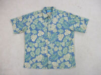 Tori Richard Hawaiian Shirt Adult Extra Large Green Blue Palm Print Casual Mens