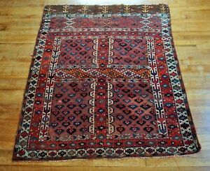 "Antique Turkoman Tekke Rug  4'8""x5'4"""