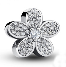 White flower Silver European CZ Charm Crystal Spacer Beads Fit Necklace Bracelet