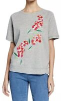 NWT Womens Tommy Hilfiger S/S Gray Floral Embroidered Sweatshirt Top Sz Medium