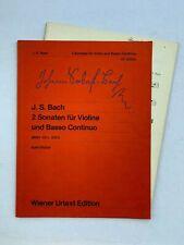 Noten. J.S. Bach. 2 Sonaten für Violine und B.c. (BWV 1021, 1023). Mit Stimme.