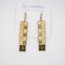 Lia sophia jewelry matte gold large rectangle cut glass stone hoop earrings drop