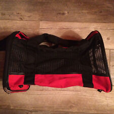 New listing Red and Black Canvas Fabric fold up Cat or Small Pet dog Carrier Euc