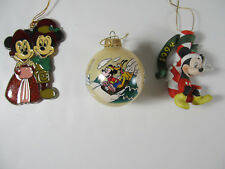 LOT 3 DISNEY VINTAGE Mickey Minnie Pluto Candy Cane Carolers Christmas Ornaments