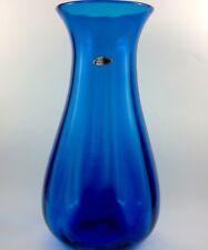 """Monumental Blenko Turquoise Blue Optic Urn Vase Hand Blown Art Glass Label 16"""""""
