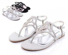 Silver BAMBOO Fashion Rhinestone Strappy Womens Sandals Dress Shoes Size 6