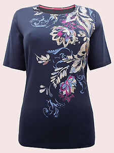MARKS & SPENCER NAVY Pure Cotton Placement Print Top Sizes 12 to 22 NEW