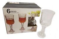 6 x Wine Glasses Vintage Crystal Look Wine Glasses Wine Goblets 220cl QUALITY