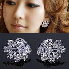 New Fashion Luxury Full Shining Rhinestone Feather Earrings Party Jewelry ZY