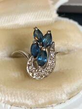 ANTIQUE 14K SOLID GOLD RING MINE CUT NATURAL DIAMONDS & BLUE STONES!! NR