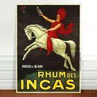 "Stunning Vintage Rum Alcohol Poster Art ~ CANVAS PRINT 36x24"" ~ Rhum des Incas"