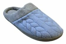 Dearfoams Women's Quilted Fleece Clog Memory Foam Slippers (Medium/7-8, Iceberg)