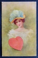 Gold Valentine HEART: Pretty Lady with Hat Cpy 1906 by H W LEE  Post Card  #1734