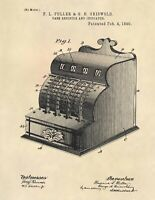 Vintage Antique Cash Register Official Patent Art Print- NCR Cash Register 772