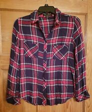 ROMEO & JULIET COUTURE Red Navy Plaid Shirt M