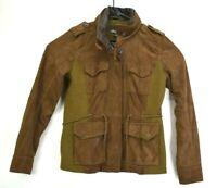 Eddie Bauer Men Small Genuine Leather 4 Pocket Front Full Zip Hidden Hood Jacket