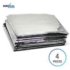 4 Emergency Rescue Space Thermal Mylar Blankets 82 x 62 New Free Shipping Silver