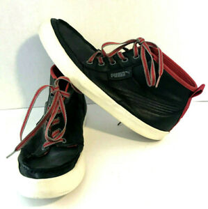 Puma Black And Red Leather High Top Shoes Sneakers Mens Size 10.5