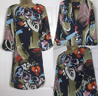 NEW M&S Womens Abstract Shift Tunic Dress 3/4 Sleeve Office Work Smart Sz 8-22