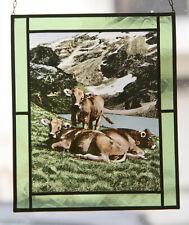 Vitrail peint à suspendre, « vaches en alpage »