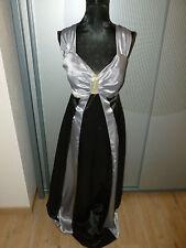 Abendkleid grau silber schwarz rückenfrei 36 S