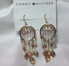 Fashion Costume Tommy HilFiger Dangle Bead Hoop Dream Catcher NOC Post Earrings