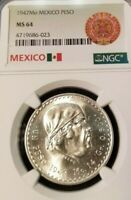 1947 MEXICO SILVER UN PESO MORELOS NGC MS 64 GREAT LUSTER STELLAR COIN !!!!