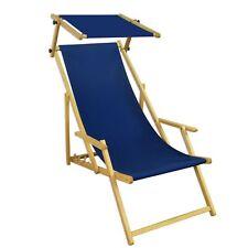 Chaise Longue Bleu de Jardin Terrasse Toit Ouvrant Plage Hêtre 10-307 N S