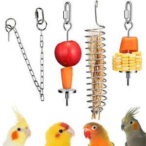 Hanging Food Bird Food Holder Foraging Toy Parrot Feeder Stainless Steel