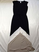Chico's Colorblock Chevron Black Tan White Maxi Dress sz 0 (S/4)