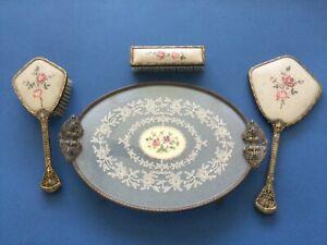 Oval Petit Point Filigree   Vanity Dressing Table Tray & brush set