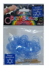 Diy 100 Silicone Loom Bands with Clips and Loom Tool - Hanukkah