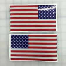 "5"" American Flag 3M REFLECTIVE Stickers (x2)  Decal  USA  Police Fire Emergency"