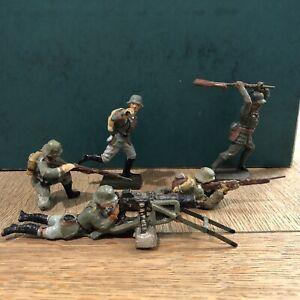 Elastolin: German Machine Gunner & Others. 70mm Scale. Pre War, c1930s