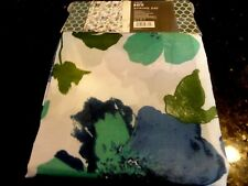 13 pc new fabric SHOWER CURTAIN~Blue Teal BOLD LARGE FLOWERS~eyecatching design