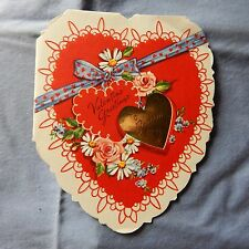 Vintage Valentine's Day Cd A-Meri-Card T-6649 Red Heart, Flowers - Dated 1952