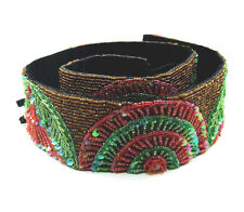 Gold, Pink & Green Seed Bead Belt with Sequins, 30-inch - 5.5cm wide