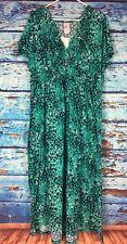JMS Just My Size Women's Maxi Dress 2X 18W/20W Shaped Fit Green Black V Neck