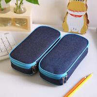 JT_ Large Capacity Zip Canvas Pen Box Pencil Case School Stationery Supplies L