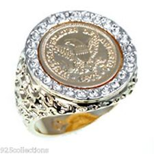 United States Eagle Coin April Clear Crystal Birthstone Men Ring Jewelry Size 14