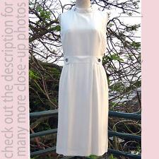 AZZARO (Paris) Elegant White 100% Silk Sleeveless Tea Career Dress F40/M-L