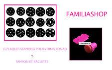 Lot 15 plaques stamping pour vernis à ongles konad + Tampon et Raclette