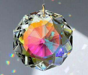 Swarovski 8950-0051 Dahlia 38mm AB coated Crystal Pendant Prism w Logo in Pouch