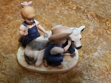 Denim Days figurine: Debbie & Danny with a Cow Calf #8878, Homco.