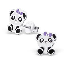925 Sterling Silver Panda Purple Ribbon Kids Girls Women Stud Earrings Jewellery
