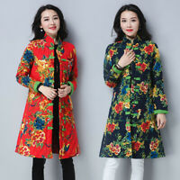 Retro Women's Chinese Floral Print Linen Cotton Padded Collar Long Coats Jacket